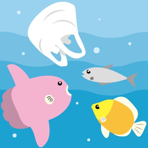海の中に漂うレジ袋とその周りに集まる魚のイラスト