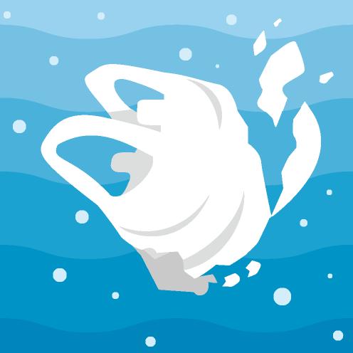 海の中に漂うレジ袋のイラスト