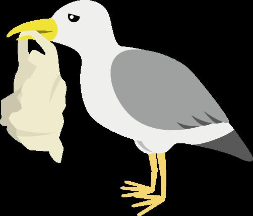 レジ袋をくわえる海鳥のイラスト