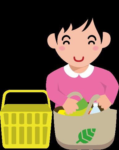 買い物かごからエコバッグに入れ替える女性のイラスト