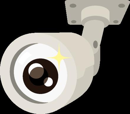 レンズ部分が目玉になっている角度が変えられる防犯カメラのイラスト