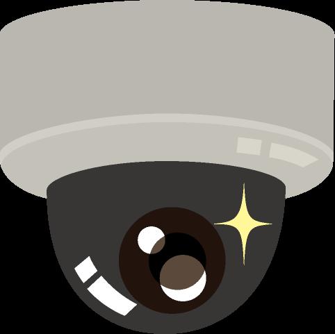 レンズ部分が目玉になっている天上設置用ドーム型防犯カメラのイラスト