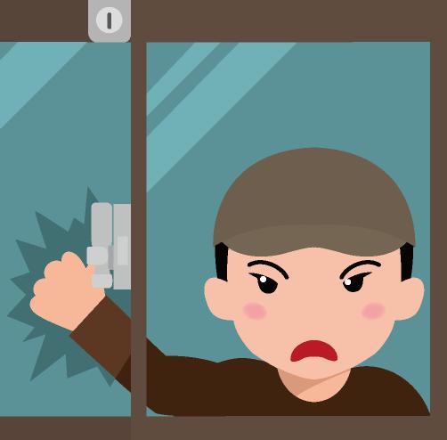 窓ガラスを割って侵入しようとする泥棒と窓枠に取り付けられた補助錠のイラスト