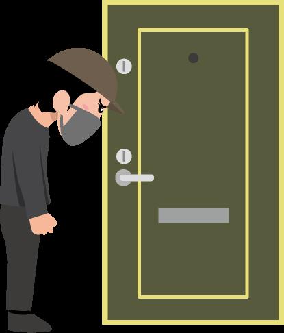 補助錠が取り付けられた玄関ドアの前でうなだれる泥棒のイラスト