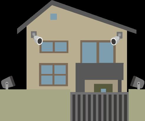 防犯カメラやセンサーライトに守られた住宅のイラスト