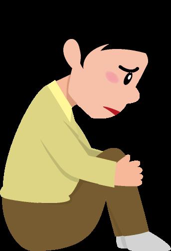 膝を抱えて悲しむ男性のイラスト