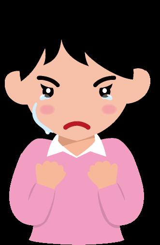 手を握り締めて悔し涙を流す女性のイラスト