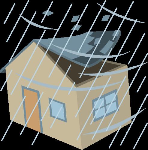 台風被害のイラスト