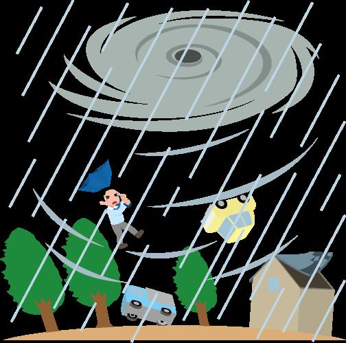暴風雨災害のイラスト