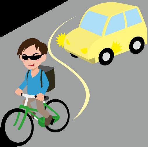 自転車の危険走行のイラスト