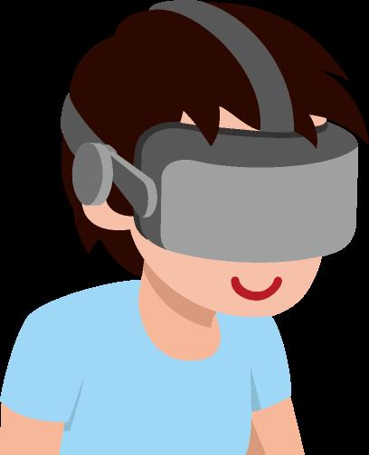 VRゴーグルと男性のイラスト