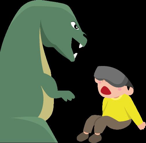 VRゴーグルと恐竜と子どものイラスト