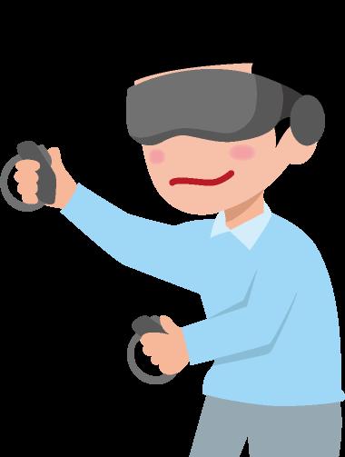 VRゴーグルとコントローラーと男性のイラスト