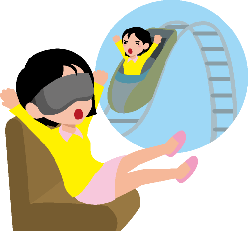 ジェットコースターのVR映像とソファに座った女性のイラスト