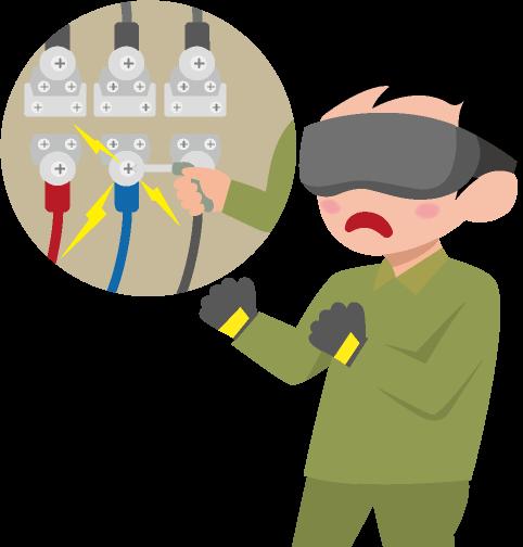 VRゴーグルを着けた男性と電気配線工事での感電のイラスト