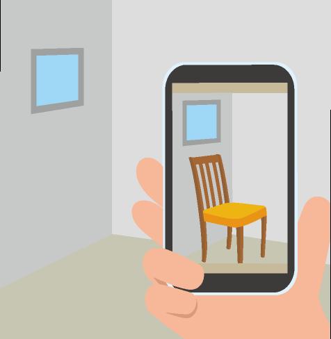 部屋と椅子とスマホのイラスト