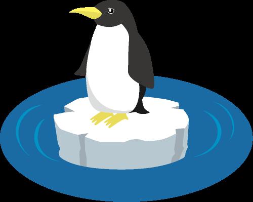 温暖化の影響で南極の氷が解けて小さな氷の上に取り残されたペンギンのイラスト