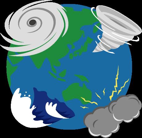 地球上の各地で起こる巨大な台風や竜巻、雷雨や大波などの異常気象のイラスト