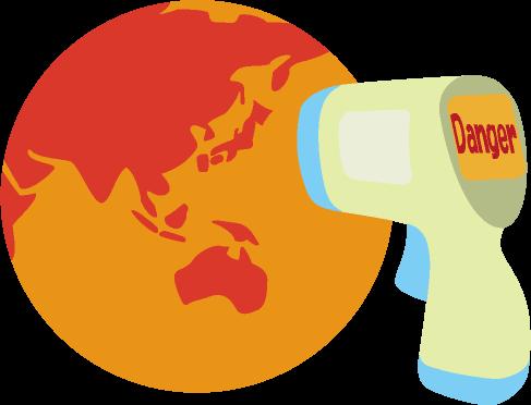 体温計で温度を測ると危険な状態であることがわかる真っ赤な地球のイラスト