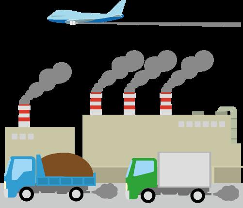 車や飛行機や工場から排出される温室効果ガスのイラスト