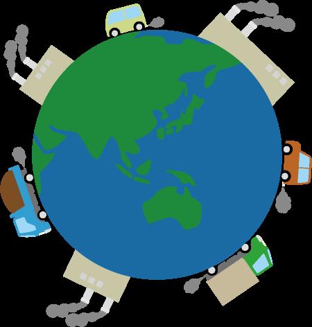 地球の周りを取り囲む温室効果ガスを排出する車や工場のイラスト