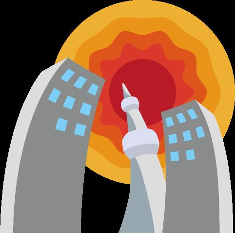 ビルやタワーが太陽の熱で歪んで見える町のイラスト