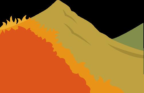 ふもとから頂上に向けて燃え広がる山火事のイラスト