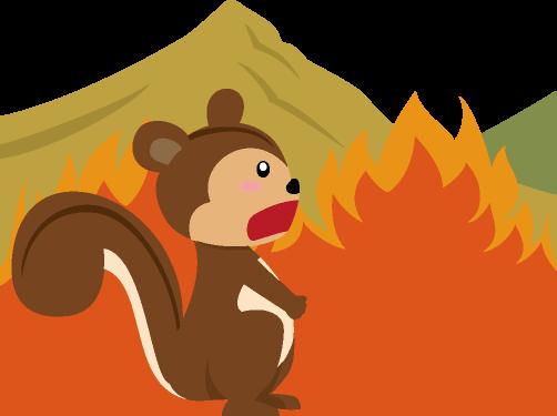 大きく燃え上がる山火事の炎に驚くリスのイラスト