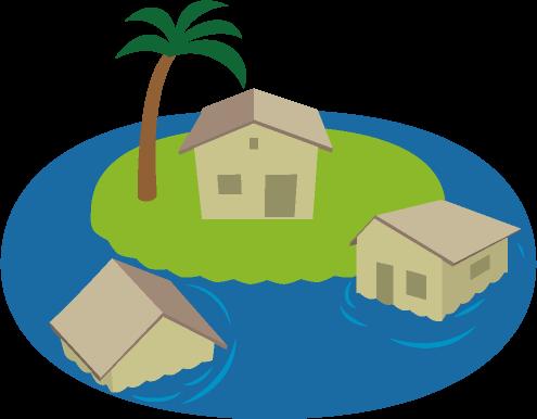 海面が上昇して水に浸かった家のイラスト