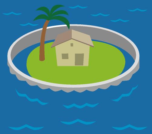 海面上昇により浸水を防ぐため島の周りに作られた巨大なコンクリート塀のイラスト